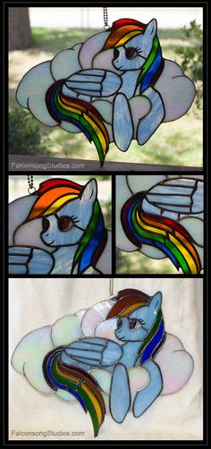Stained glass Rainbow Dash <br> Made using Tiffany Method and glass jewel <br>