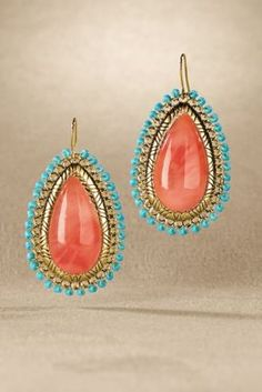 Sunrise Earrings - Stunning earrings capture the hypnotic mood and hues of a Southwestern sunrise, designed with a lustrous orange teardrop cabochon in a setting of etched gold.