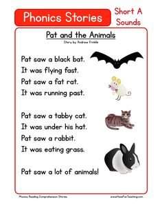 This Reading Comprehension Worksheet - Pat and the Animals is for teaching reading comprehension. Use this reading comprehension story to teach reading comprehension. Best Picture For short Reading Co Phonics Reading, Reading Comprehension Worksheets, Phonics Worksheets, Kindergarten Reading, Kids Reading, Teaching Reading, Reading Tips, Reading Response, Comprehension Strategies