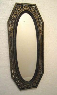 Mid Century Oval Flur De Lis Wall Mirror Filigree Syroco Ornate Gothic Regency