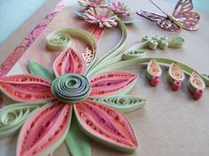Quilled Flower Greeting Card and Spiral Flowers