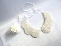 Handmade white colored pearl peterpan collar by NurayAytac on Etsy