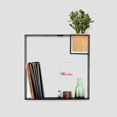 Umbra Cubist Floating Shelf with BuiltIn Succulent Planter Modern Wall Dcor and Geometric Display Shelf for Books Candles Mementos Photos Indoor Plants and More Large Black ** For more information, visit image link. Wire Wall Shelf, Large Wall Shelves, Floating Wall Shelves, Hanging Shelves, Display Shelves, Wall Décor, Display Wall, Wall Ledge, Pipe Shelves