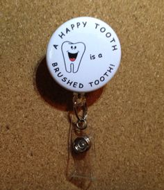 Dental - Dentist - Hygienist - Assistant - Retractable Name ID Badge Holder Badge Reel