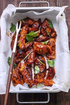 Spicy Baked Chicken Tenders: A wonderful asian twist to your favorite chicken tenders. Chicken strips are marinated in a sweet and spicy sauce, then baked, not fried, for a healthy and flavorful dinner everyone will love in th… Spicy Baked Chicken, Baked Chicken Tenders, Chicken Tender Recipes, Glazed Chicken, Baked Chicken Tenderloins, Recipes For Chicken Tenders, Asian Chicken, Marinated Chicken, Chicken Tenderloin Recipes Healthy