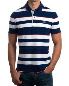 Polos Lacoste rayas azul y blanco  Polos Lacoste 100% algodón  Polos Lacoste corte confortable