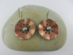 Copper and Silver Earrings ~ Nature ~ Flowers