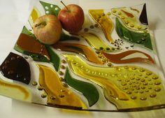Fall in a Wave - Original Fused Glass Art Platter.