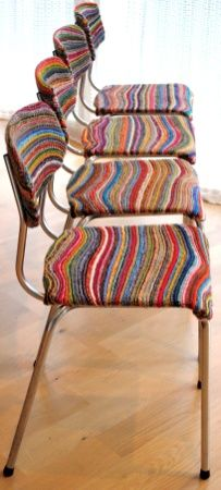 kitchen chair with knitted coverings from epla.no ....these would look brilliant felted!