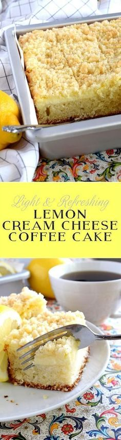 Lemon Cream Cheese Coffee Cake is extra lemony, with a creamy filling and a crumbly topping. Light, refreshing, and delicious; brew the coffee and invite your friends!