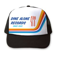 A black and white mesh back trucker hat* with a multicoloured vintage Dine Alone design to complete the old-school look! Adjustable straps, fits similar to New Era School Looks, Old School, Old Things, Mesh, Black And White, Hats, Black N White, Hat, Black White