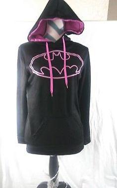 BATMAN Pink Logo Women's Size Large DC Comics Hooded Jacket Long Sleeve Kids Cartoon Characters, Shirt Skirt, Sleeve Styles, Dc Comics, Hoods, Batman Hoodie, Zip Ups, Hooded Jacket, Men Sweater