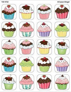 icu ~ Cupcakes Stickers from Susan Winget - Thema cupcakes, Thema taarten en School verjaardag ~ Discrimination visuelle: retrouver les paires Cupcake Drawing, Cupcake Art, Cupcake Illustration, Diy And Crafts, Paper Crafts, Memory Games For Kids, Teacher Created Resources, Birthday Board, Kids Cards