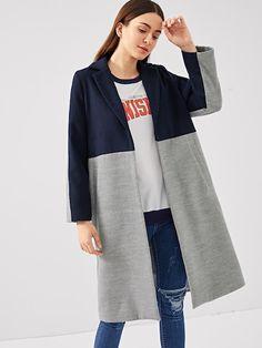d3b05223c0 Cut and Sew Pocket Side Coat -SheIn(Sheinside) Collar Styles, Latest Fashion