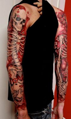 Skeleton sleeve tattoo