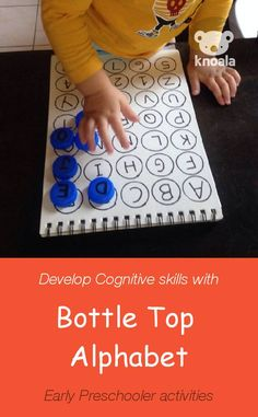 'Bottle Top Alphabet' helps little ones develop Cognitive and Language skills more fun, easy, no-prep activities for kids ages Activities For 2 Year Olds, Alphabet Activities, Infant Activities, Toddler Learning, Early Learning, Kids Learning, Learning Games, Preschool Literacy, Literacy Activities