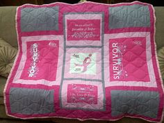 Breast Cancer T-shirt Quilt finished!  Love this!!!