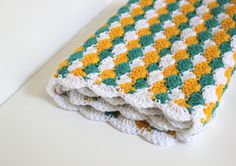 Crochet Baby Blanket Baby Shower Gifts Yellow by vividstitches #colorful #baby #newborn #toddler #swaddle #blanket #soft #cuddle #shower #gift #ideas #multicolor #yellow #turquoise #white #shell #etsy #finds #large #pineapple