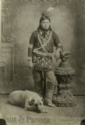Winnebago Indian Portrait with Dog 1913 Wisconsin Historical Society