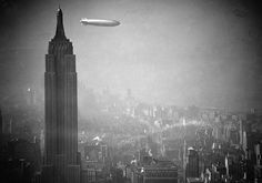 The Hindenburg airship and the Empire State Building, 1936.