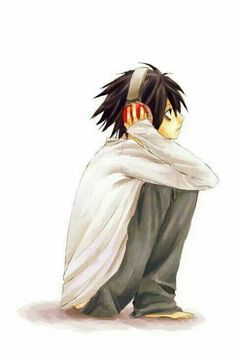 L Lawliet, headphones, cute; Death Note