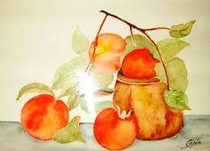 bodegon acuarela - Buscar con Google Illustration Art, Illustrations, Peach, Watercolor, Painting, Google, Easy Watercolor, Water Colors, Paintings