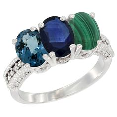 10K White Gold Natural London Blue Topaz, Blue Sapphire and Malachite Ring 3-Stone Oval 7x5 mm Diamond Accent, sizes 5 - 10 >>> Additional details at the pin image, click it  : Jewelry Ring Bands