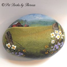 Old Barn Painted Rock  Stone  Farm Country Painting   Direct from Artist   One of a Kind   Old Barn Collector Item Decor