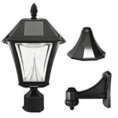 Gama Sonic Baytown II Solar Outdoor LED Light Fixture, Pole/Post/Wall Mount Kit, Black Resin #105033