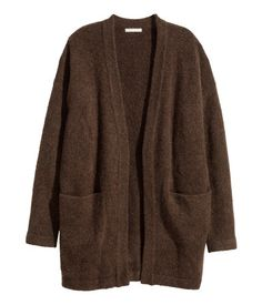 H&M - Mohair-blend Cardigan - Dark brown melange - Ladies Pijamas Women, Moda Casual, Mode Vintage, Character Outfits, Knit Cardigan, Brown Cardigan, Aesthetic Clothes, Pretty Outfits, Long Sleeve Tops