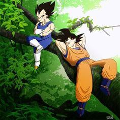 Vegeta & Goku sittin in a tree XD you know the rest LOL Goku And Gohan, Son Goku, Vegeta Y Trunks, Dragon Ball Z Shirt, Popular Manga, Kawaii Anime, Anime Art, Artwork, Wattpad