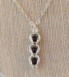 Garnet Gemstone Necklace Chainmaille Necklace by PJsPrettys