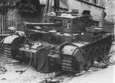 Cromwell 1944    British Cromwell VIII No. T187608 of the 7-th British Armored Division commanded by Sergeant Gerald Holloway was knocked out in Villers-Bocage by a German Tiger tank commanded by the famous German tank commander SS Michael Wittmann.