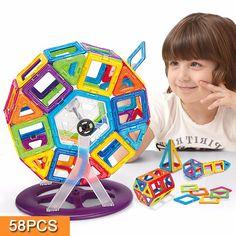 Magnetic Toy 58PCS Mini Magnetic Models & Building Kits Blocks 3D Construction Designer Set Children DIY Educational Kds Toys #Affiliate