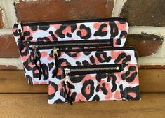Leopard Print Makeup Bag and Wristlet Set Handmade Clutch, Handmade Bags, Polka Dot Bags, Premier Prints, Makeup Bags, Bag Patterns, Novelty Print, Gifts For Coworkers, Cotton Bag