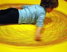 How FUN! Movement and art. Great activity for building strength in shoulders & arms so necessary for fine motor development.
