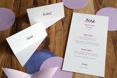 Placecards and menu by A Tactile Perception. #weddinginvitations