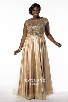 All that glitters is gold! Shine at the big dance with the Sydney's Closet Golden Girl plus size prom dress. The best part? An amazing bodice covered in shining sequins, topped off with illusion net covered in multi colored beads that change depending on how the light hits it.  Golden Girl has cap sleeves, a satin belt, corset lace-up back and modesty panel. Available Now. Sold in sizes 16 to 32!     http://www.sydneyscloset.com/sydneys-closet/7162/
