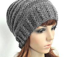 Hand knit hat Charcoal Cable hat woman hat winter hat Knit Wool Hat-ready to ship