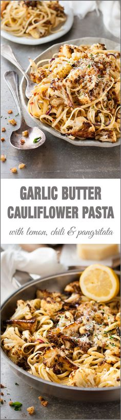 Garlic Butter Cauliflower Pasta with Pangritata - simple midweek magic made with 2 slices of bread, cauliflower, pasta and a few pantry essentials.
