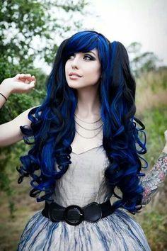 Black, Blue, Long & Curly