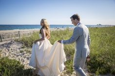 """Natalie & Pete were married in Watch Hill, RI (Misquamicut Golf Club).  Anne Barge """"Devoted"""" wedding gown from Kinsley James Bridal Couture."""