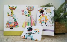 En nuestra artesanía también hay hermosa lencería. Toallas de cocina confeccionadas por manos Dominicanas.