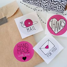 Packaging Stickers. Stickers for Packaging. Snail Mail Stickers. Pink, Black, Grey.