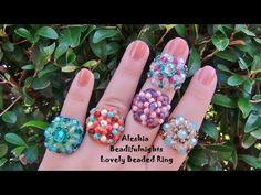 M Lovely Beaded Ring Tutorial Seed Bead Jewelry, Bead Jewellery, Jewelry Making Beads, Jewlery, Beading Projects, Beading Tutorials, Beaded Jewelry Patterns, Beading Patterns, Handmade Rings