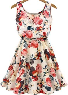 Apricot Sleeveless Round Neck Florals Print Dress pictures