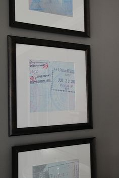 Passport stamps enlarged and framed! would be great for future stairwell photo gallery!