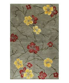 Take a look at this Taupe Flowers Wool Rug by Bashian on #zulily today!
