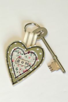 Key ring green heart, Fabric heart shaped keyring, Heart key fob, Mother's Day £5.00