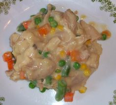 Speedy Chicken A la King from Food.com:   								I got this recipe from a cooking class and I helped make it. In my cooking class we served this over top of homemade fluffy biscuits. My family really enjoyed this recipe. We thought it tasted so good and this was so easy to make. In a pinch I've made this recipe with frozen mixed vegetables, water in place of the chicken broth and I've left out the celery and I think it still turns out great.